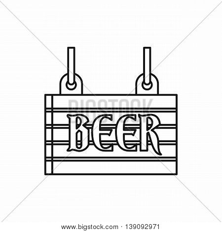 Street signboard of beer icon in outline style isolated vector illustration