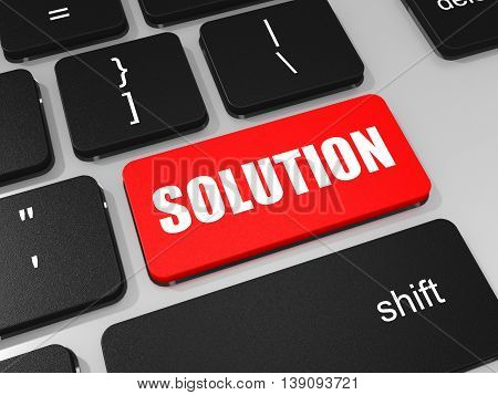 Solution Key On Keyboard Of Laptop Computer.