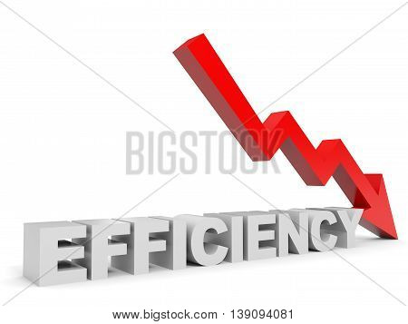 Graph down efficiency arrow on white background. 3D illustration.