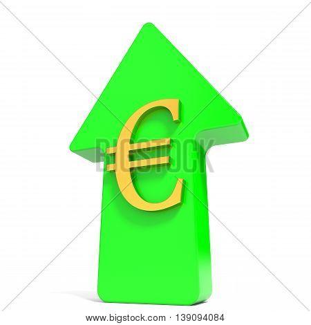 Euro rising arrow on white background. 3D illustration.