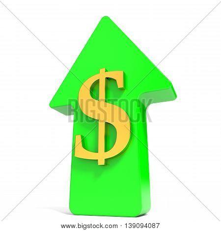 Dollar rising arrow on white background. 3D illustration.