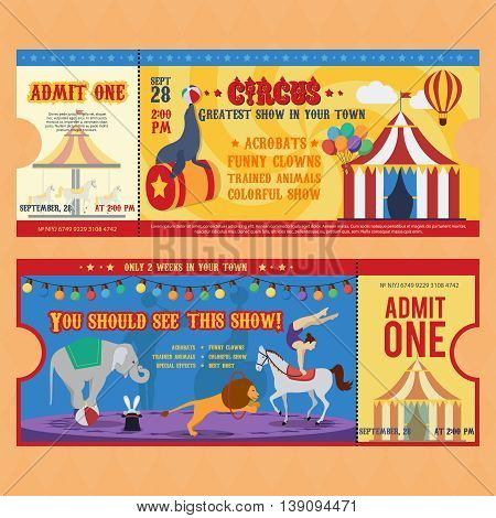 Circus tickets templates with striped tent carousel balloon animals electric lights on beige background isolated vector illustration