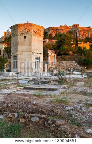 Remains of the Roman Agora, Tower of Winds and Acropolis in Athens, Greece.