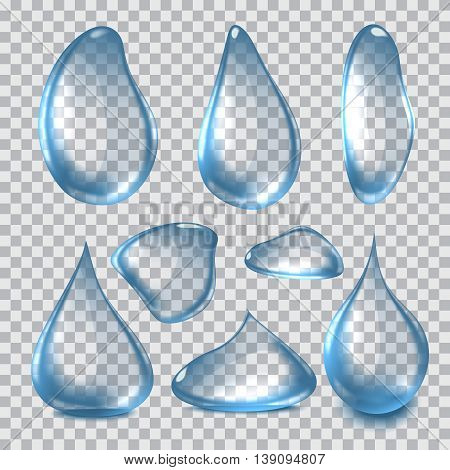 Vector Illustration set of Clear Realistic Water Drops on transparent background