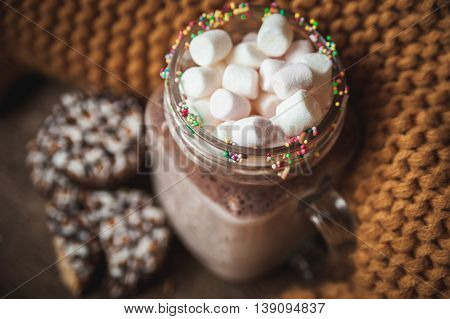 Glass Cup with cocoa and marshmallows chocolate chip cookies and yellow scarf
