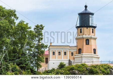 Splitrock historical lighthouse overlooking Lake Superior in Minnesota.