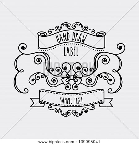 Hand draw concept represented by label and decoration icon. Isolated and flat illustration.