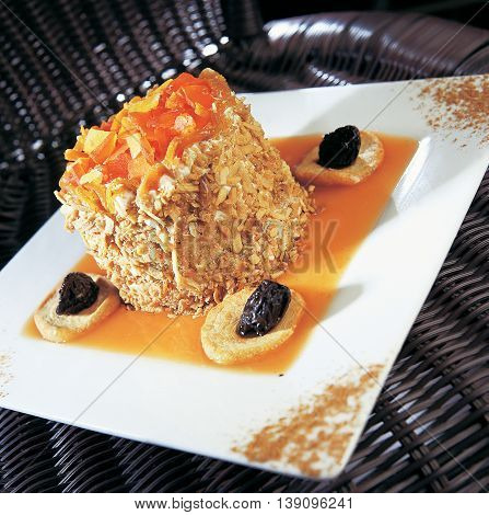 A Classical Dessert with coconut and Coffee.