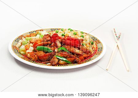 Chinese food cuisine. Meat rice and vegetables
