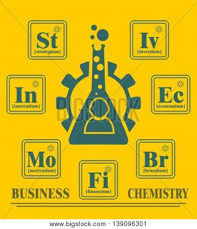 Business model metaphor. Fictional chemical elements around gear and businessman icon. Business chemistry