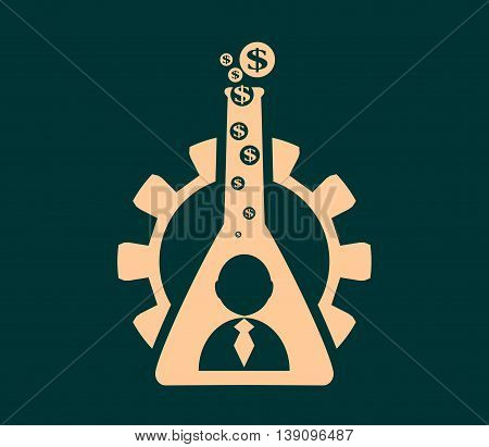 Business model metaphor. Gear and business icon in laboratory glass. Business chemistry. Dollar sign vapour