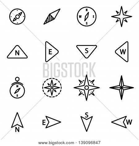 Vector line compass icon set on white background