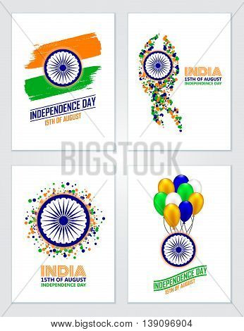 India Independence Day set of greeting cards in traditional colors - saffron green navy blue.