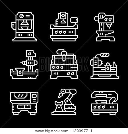 Set line icons of machine tool isolated on black. Vector illustration