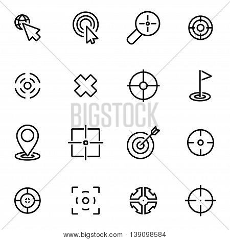 Vector line target icon set on white background