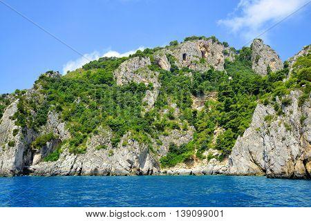 Coastal rocks of Capri island - Italy, Europe
