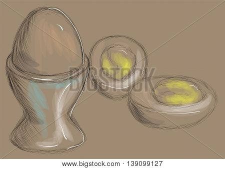 boiled egg illustration of boiled egg brown background