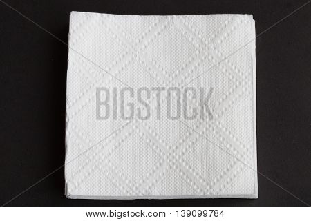 The white napkin which isolated on black