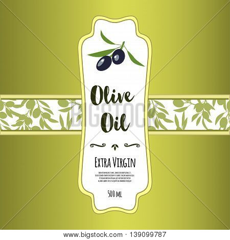 Olive oil banner design for product package labeling & decoration template. Floral frame with decorative elements & olive tree branches with olives vector illustration. Sample text. Editable