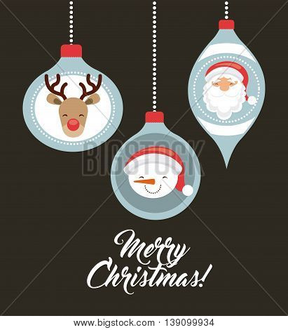 Merry Christmas concept represented by snowman santa and reindeer cartoon inside spheres. Colorfull and vintage illustration.