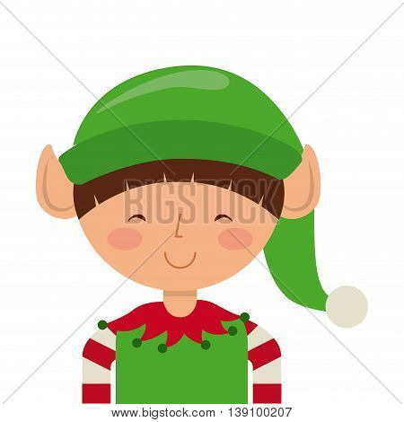 Merry Christmas concept represented by elf cartoon icon. Colorfull and vintage illustration.