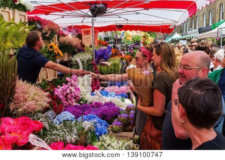 Columbia Road Flower Market In Tower Hamlets, London, Uk