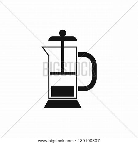 French press coffee maker icon in simple style isolated vector illustration