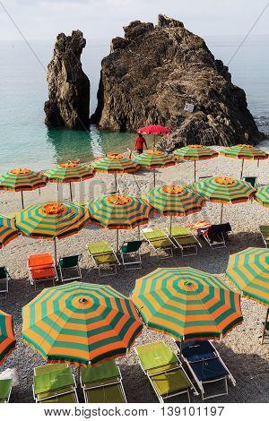 Beach Scene In Monterosso Al Mare, Cinque Terre, Italy