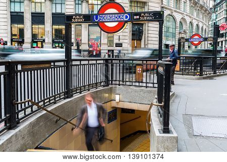 Entrance To Monument Station Of London Subway In London, Uk