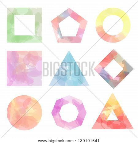 Set of nine simple figures with watercolor backgrounds. Vector illustration f circles, squares, triangles and polygons. Not traced. Pastel