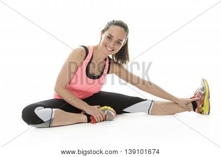 A Fitness woman stretching full body over white background.