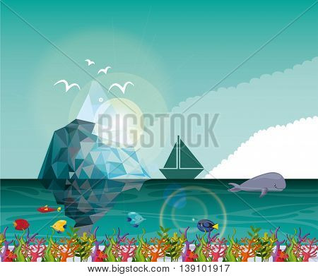 Sea life concept represented by iceberg sailboat whale and tropical fish icon. Colorfull illustration.