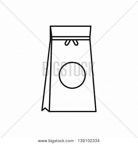 Tea packed in a paper bag icon in outline style isolated vector illustration