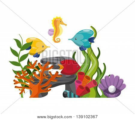 Sea life concept represented by stone algae coral fish oyster shell and sea horse icon. Colorfull illustration.