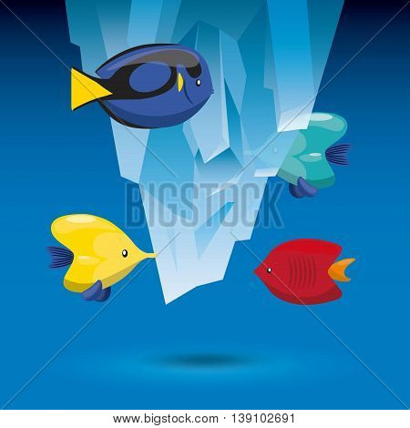 Sea life concept represented by iceberg and tropical fish icon. Colorfull illustration.