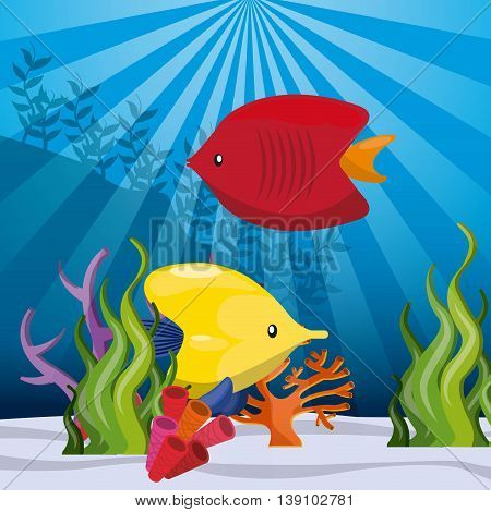 Sea life concept represented by tropical fish icon. Colorfull illustration.
