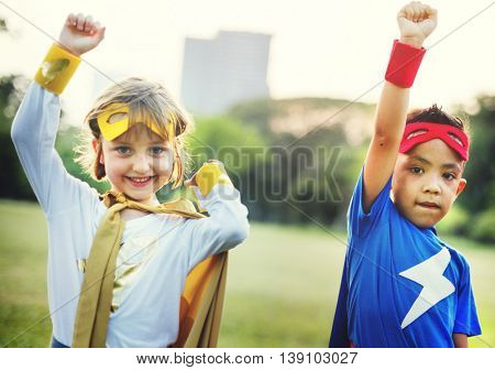 Kids Superheroes Fun Costumes Play Concept