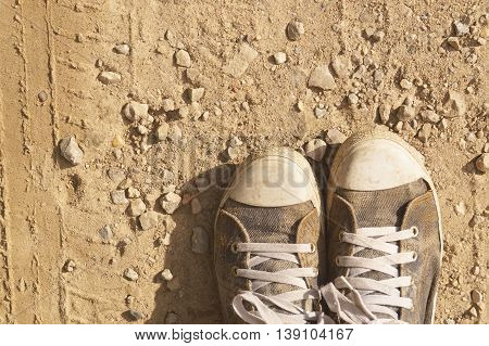 Shoes Sneakers sand mud, dirty shoes, outdoor
