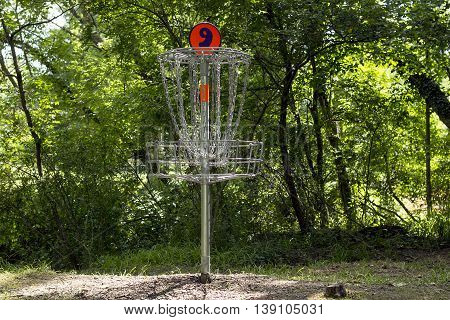 Golf basket number 9 on a course