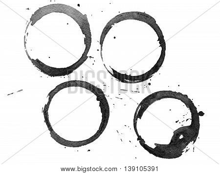 Set of black stains isolated on white paper background