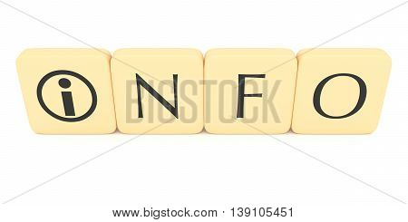 Letter blocks with information icon: Info 3d illustration