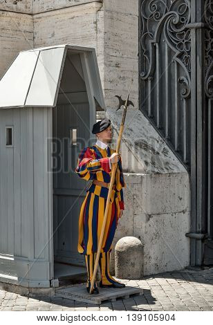 ROME ITALY - July 1 2016: Vatican City. the Swiss Guard making the changing of the guard