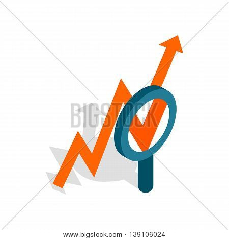 Magnifier and growth chart icon in isometric 3d style isolated on white background. Statistics symbol