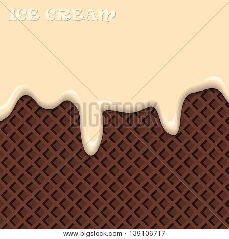 Vanilla Ice Cream With Chocolate Wafer Vintage Abstract. Vector Illustration