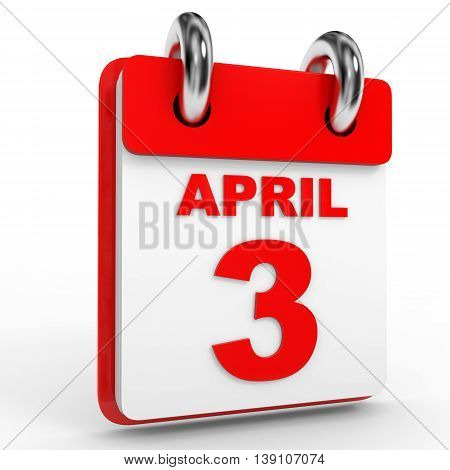 3 April Calendar On White Background.