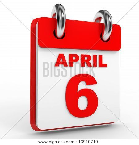 6 April Calendar On White Background.