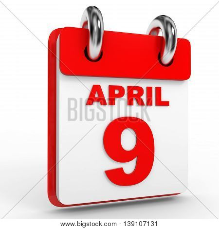 9 April Calendar On White Background.