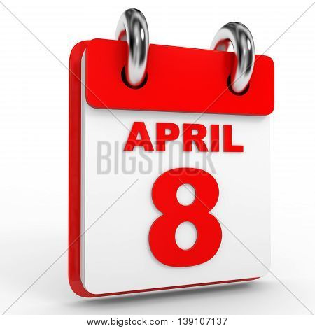 8 April Calendar On White Background.
