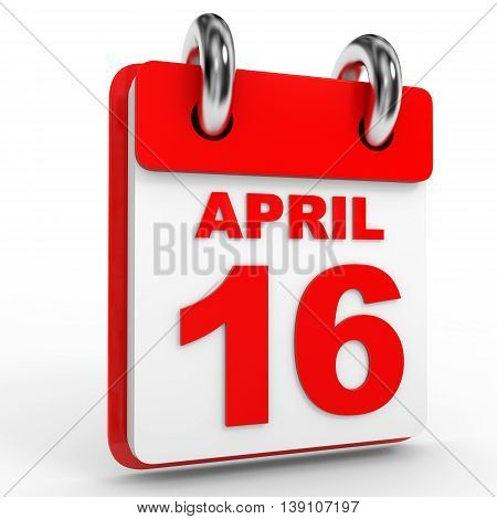 16 April Calendar On White Background.