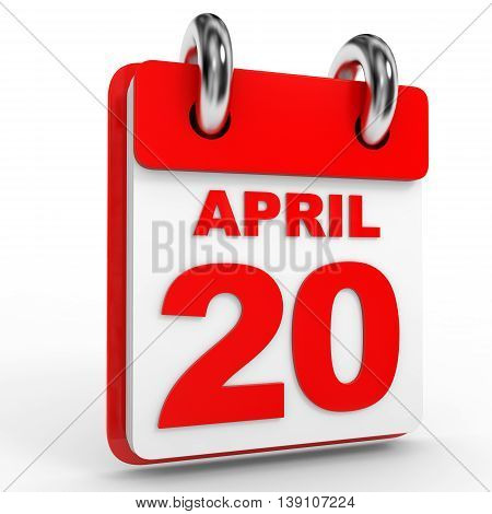 20 April Calendar On White Background.